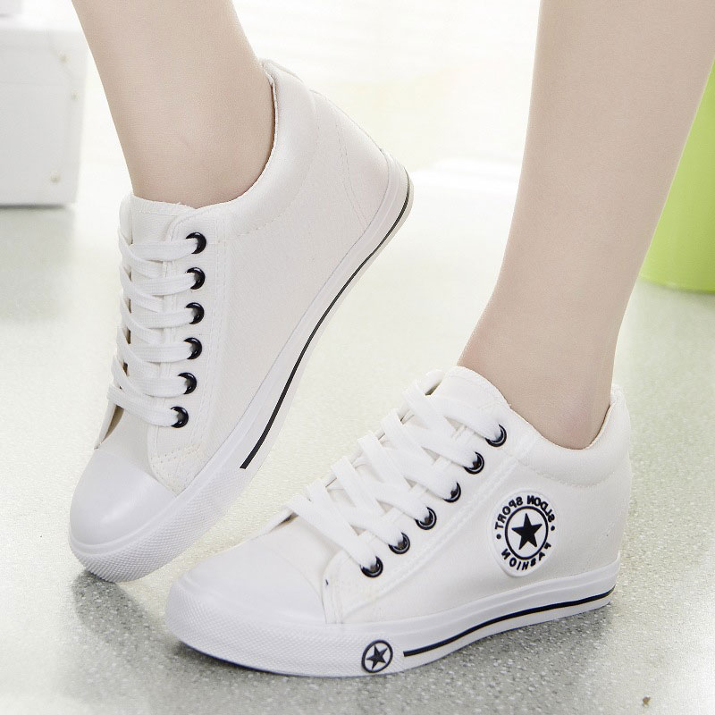 Summer Sneakers Women Trainers Wedges Casual Canvas Shoes Female Basket Femme ladies White Black zapatillas mujer tenis feminino wedges shoes for women platform sneakers tenis feminino zapatillas mujer casual basket femme black white mesh harajuku shoes