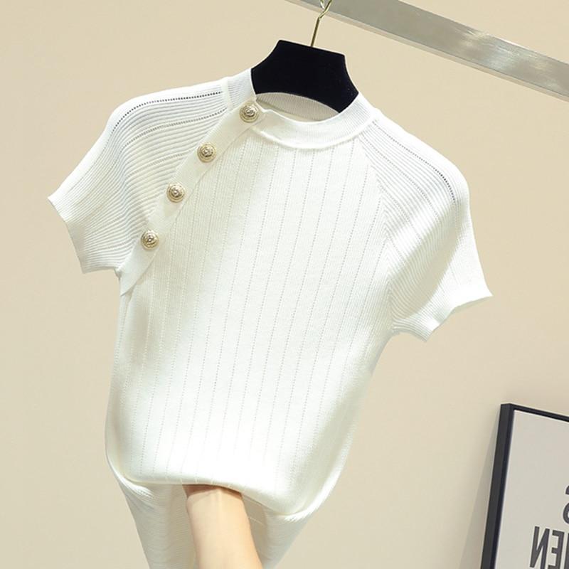 Summer Short Sleeve Thin Knitted Pullover Button Tops Women 2019 Summer Solid Casual Korean Pull Femme Jumper Female Tee Shirt