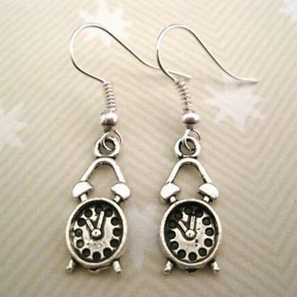 30pair *CUTE ALARM CLOCK* Tibetan Silver Earings VINTAGE RETRO 36MM LK668