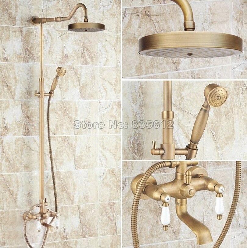 Antique Brass Bathroom Round Shower Head Wall Mounted Rain Shower Faucet Set with Dual Ceramic Handles Bathtub Mixer Taps Wrs119