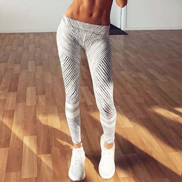 New Fashion Women Fitness Leggings Black and White Stripe Printing Push Up High Elasticiry Sexy Pants