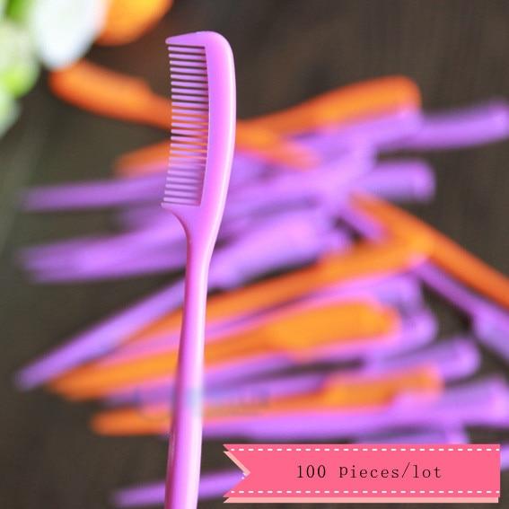 Оптовая продажа 100 шт./лот мини бровей гребень милые маленькие ресницы кисти для макияжа наращивание ресниц инструменты