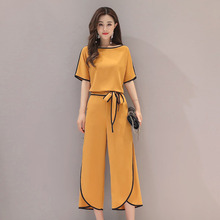 2019 Summer  Fashion Women Black White Shirts Wide Leg Pant Office Lady Two Piece Sets Woman Tops Elegant Suits