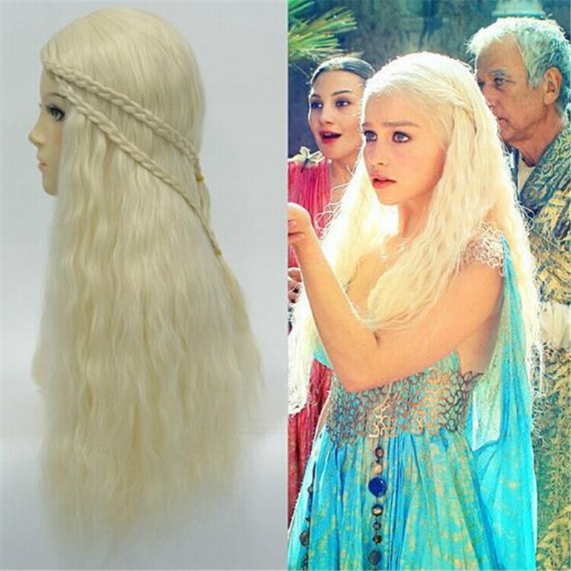 Game of Thrones Cosplay Daenerys Targaryen Wig 72CM Daenerys Stormborn Headwear Dany Mother of Dragons Costumes