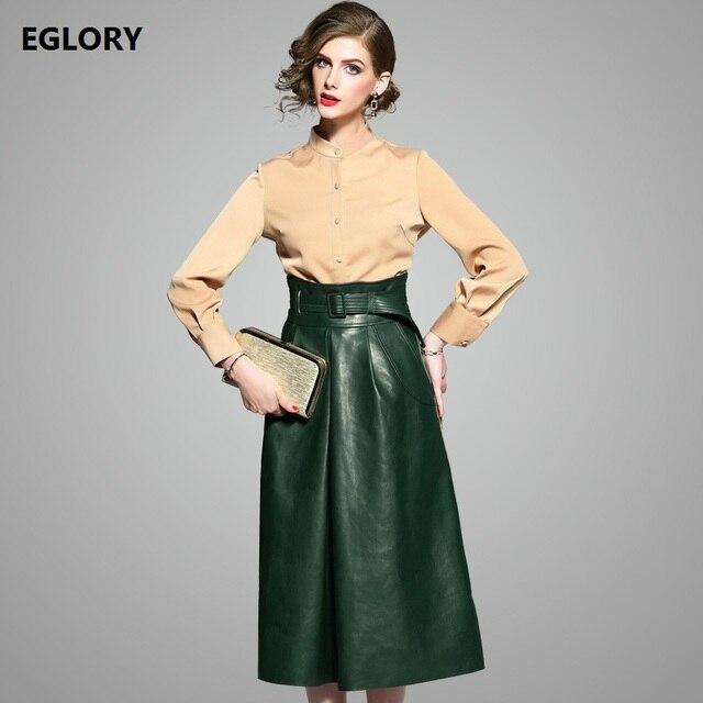 Women Office Clothing Skirt Suits 2017 Autumn Winter Las Long Sleeve Shirt Tops Empire Waist