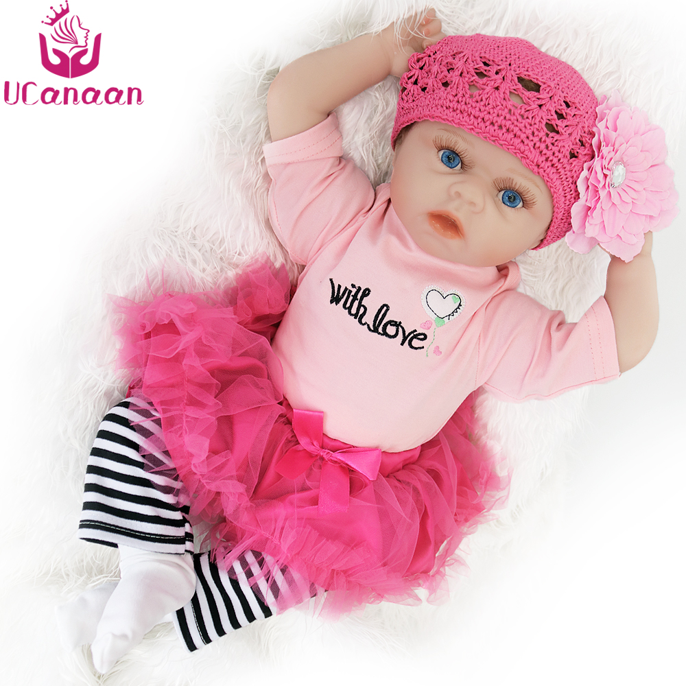 UCanaan 22'' 55CM Soft Reborn Doll Silicone Baby New Born Dolls For Children Handmade Cloth Body Blue Eyes Baby Alive Kids Toys ucanaan 55cm hair rooted cloth body reborn doll soft silicone brown eyes toys for girls baby alive new born kawaii kids toys