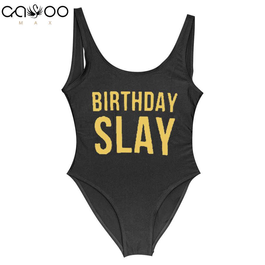 65d82669fc7 Birthday Slay Golden Letter One Piece Swimsuit Girl Swimwear Women High Cut Bathing  Suit Plus Size