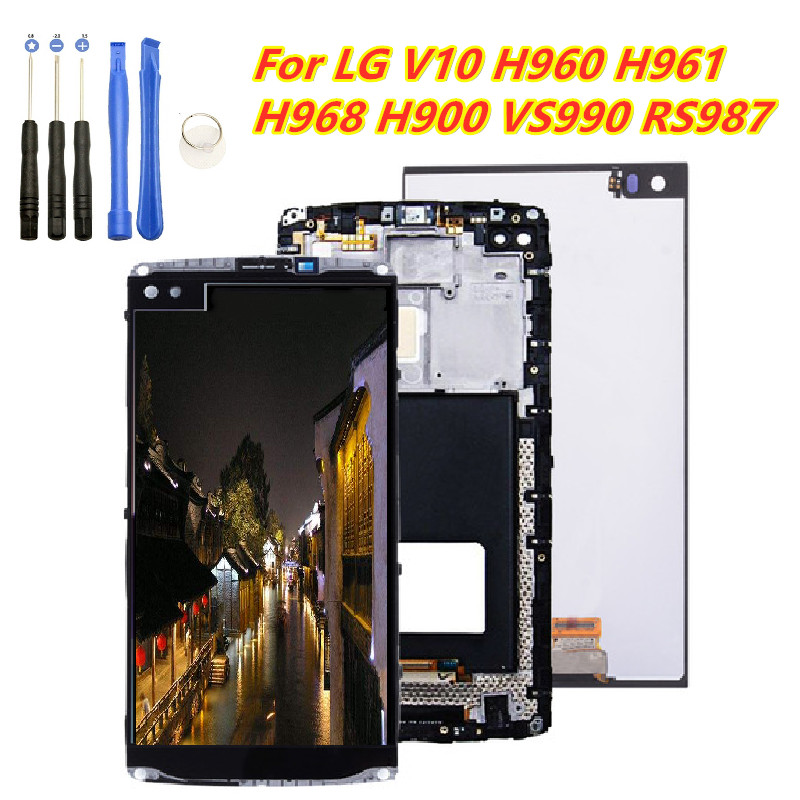 New Lcd Replacement Parts For <font><b>LG</b></font> <font><b>V10</b></font> H960 H968 H900 VS990 LCD <font><b>Display</b></font> Touch Screen Digitizer Assembly With Frame <font><b>LG</b></font> <font><b>V10</b></font> H960 image