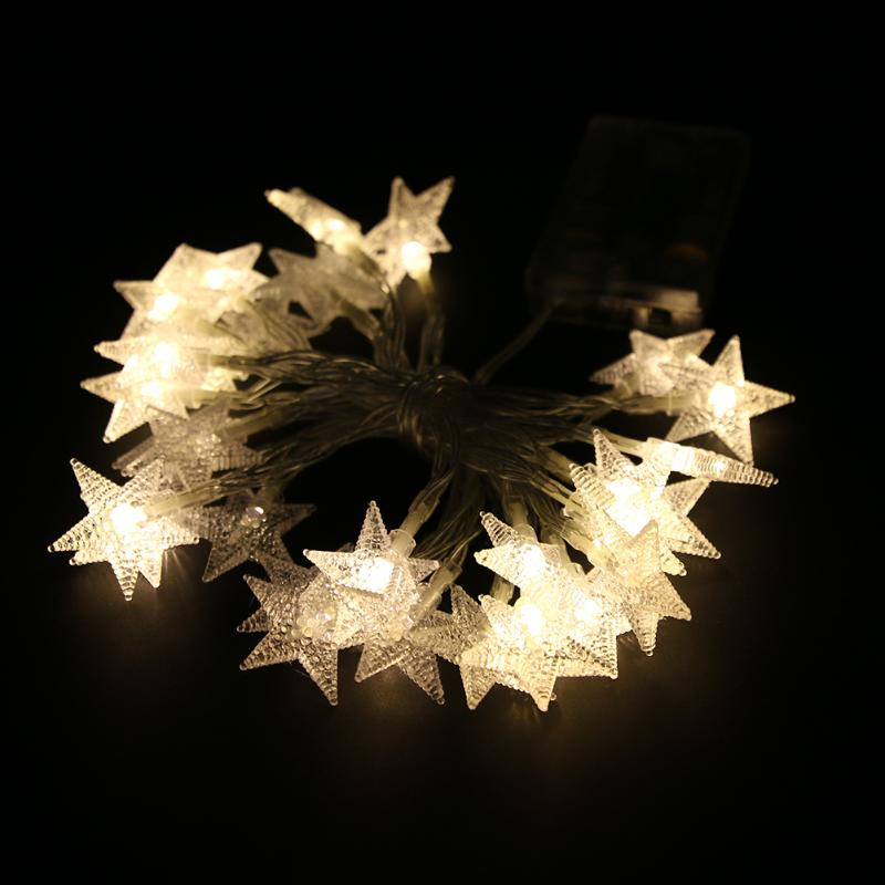 30pcs 3M LED String Lights 3AA Battery Powered Fairy Five-pointed Star Light Christmas Festival Wedding Party Holiday Decoration