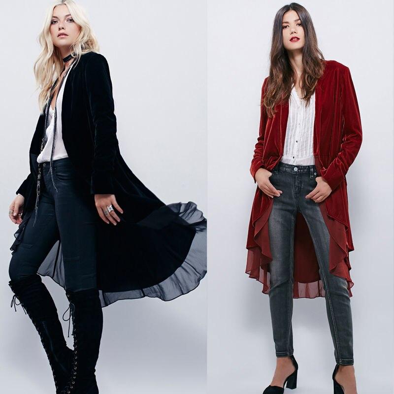 Ruffled Trim Open Front Velvet Women/'s Cardigan Wrap Top Jacket Outwear Coat US