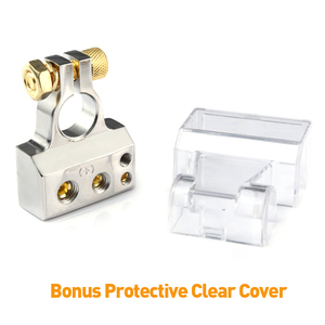 Image 4 - MICTUNING 2pcs Car Battery Terminal Connectors Kit 2/4/8/10 AWG Positive Negative Car Battery Post Clamp w/ 2 Clear Covers Shims