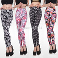 EU 2017 New Sweet Women Colorful Floral Printed Good Elastic Leggings Girls Casual Wild Slim Pant