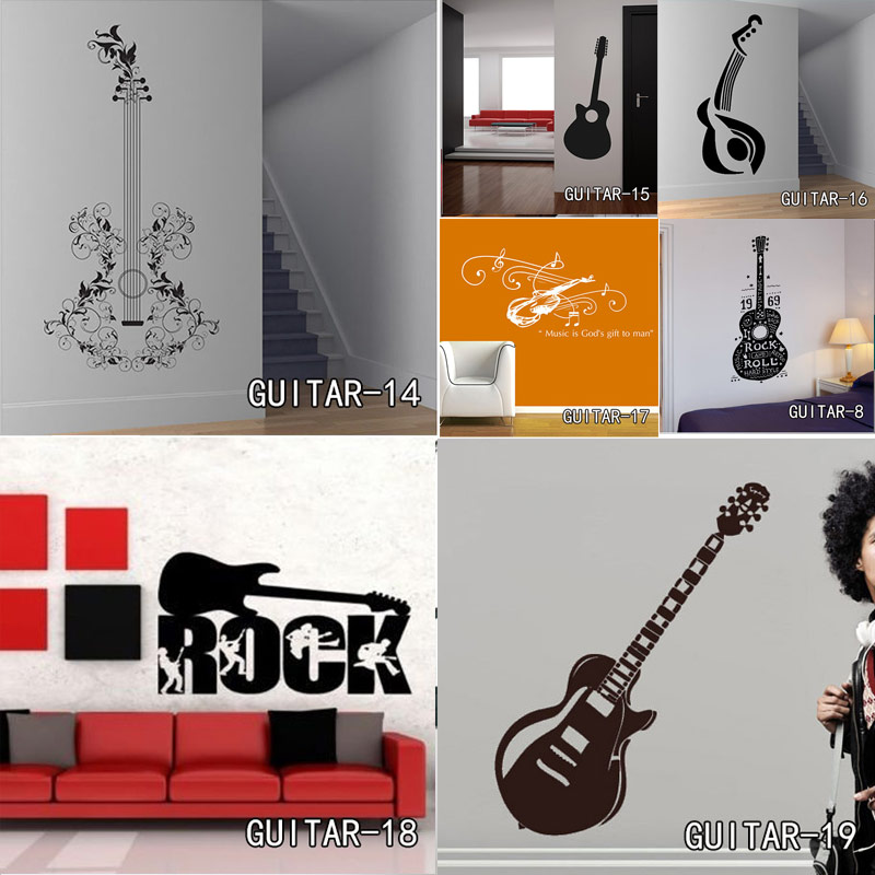 Us 2 11 27 Off Creative Art Guitar Wall Stickers Home Decor Diy Musical Instrument Decorations Rock Music Decals Living Room In