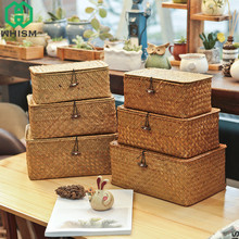 hot deal buy whism handmade straw woven storage basket with lid makeup organizer storage box seagrass laundry baskets rattan jewelry box