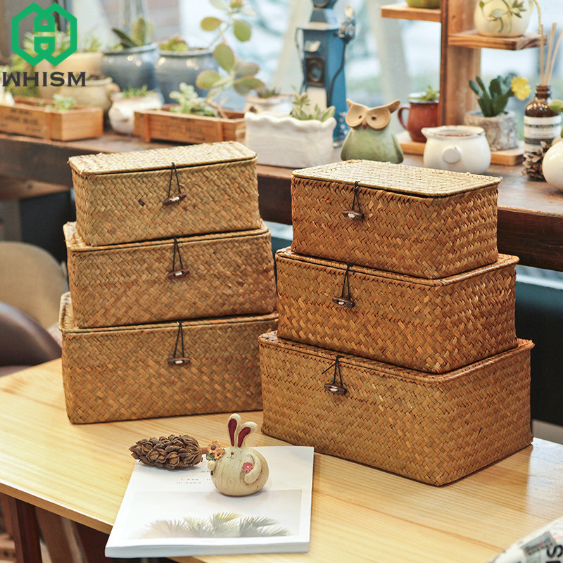 WHISM Handmade Straw Woven Storage Basket with Lid Makeup Organizer Storage Box Seagrass Laundry Baskets Rattan Jewelry Box