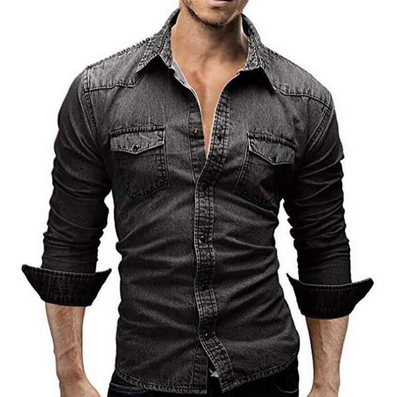 Men/'s Casual Luxury Stylish Wash Vintage Slim Fit Denim Shirts Tops Fashion