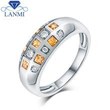 Natural Yellow Sapphire Shinning Diamond 14K White Gold Luxury Jewelry for Women and Men' Anniversary Gift