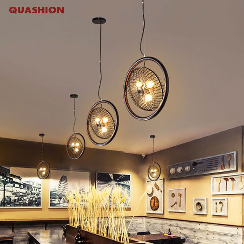 Loft Style Wrought Iron Fan shape Droplight Edison Industrial Vintage Pendant Light Fixtures hotel bar Room Hanging Lamp new vintage loft pendant lights wrought iron retro edison hanging lamp industrial bar living kitchen room pendant lamps zdd0018