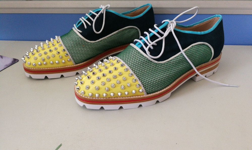 New Autumn Fashion Runway Men Spike Casual Shoes Hollow Out Pathwork Lace  Up Loafers Men Wedding 83e69bd148a0