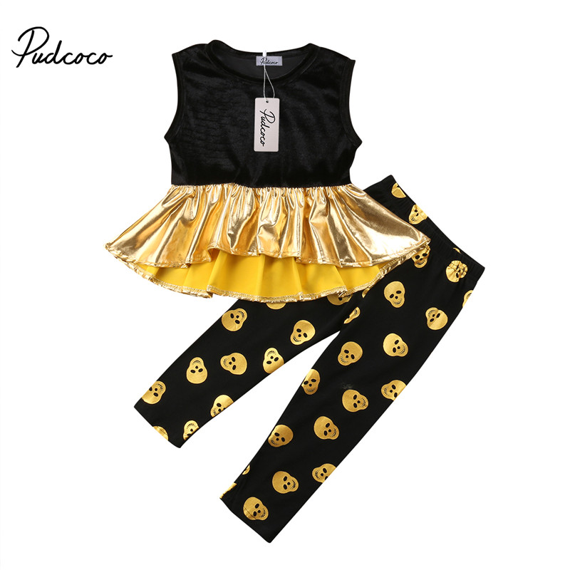 3c4fd3f9d9a8 Detail Feedback Questions about pudcoco 2 7Y Fashion Toddler Kids Girl Tops  Ruffles gold silver T shirt +polka dot Pants Leggings girls Outfits Clothes  Set ...