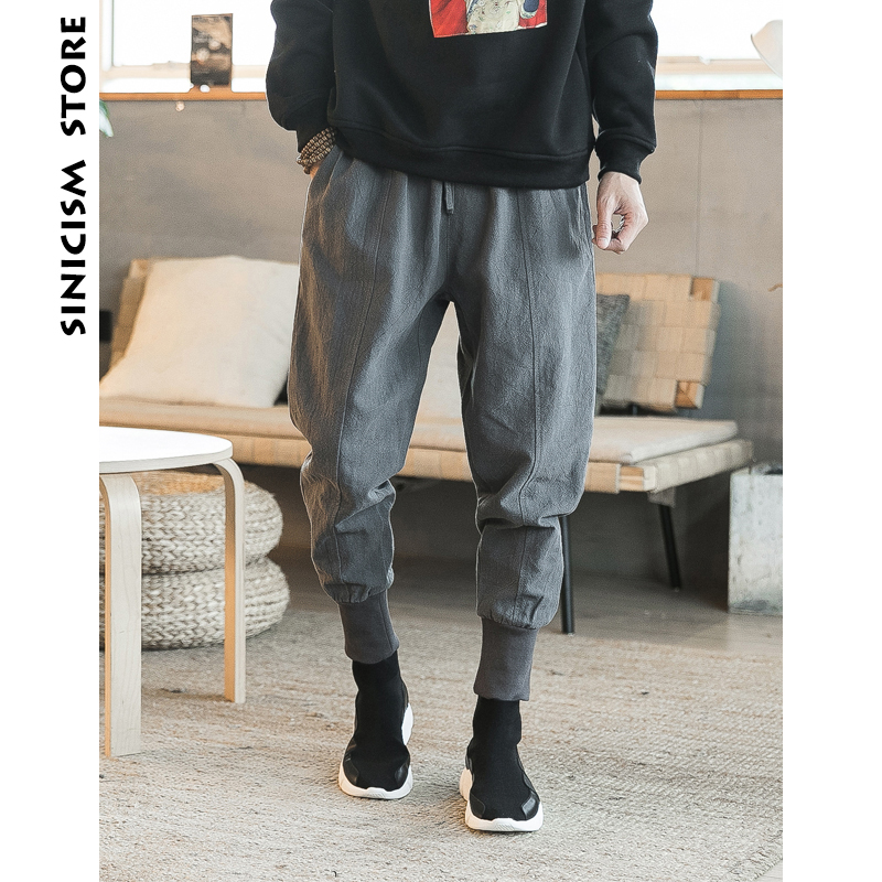 Sinicism Store Cotton Linen Skinny Pants Mens Summer Male Casual Jogger Pants 2019 Pattern Solid Slim Pants Trousers Track Suit