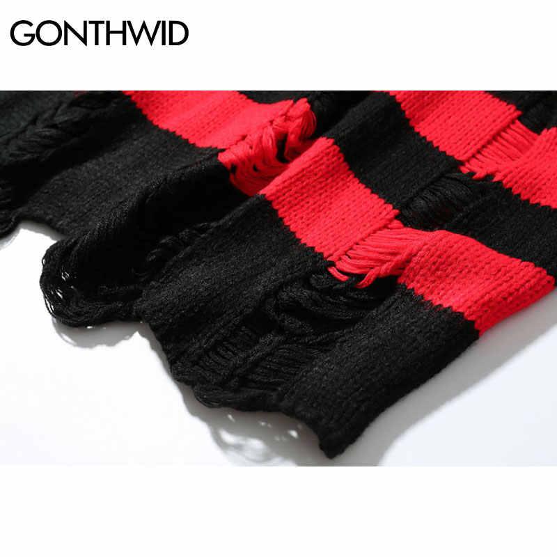GONEWILD Zerrissene Streifen Stricken Pullover Männer Hip Hop Loch Casual Pullover Pullover Männlichen Mode Lose Langarm Pullover Rot Schwarz