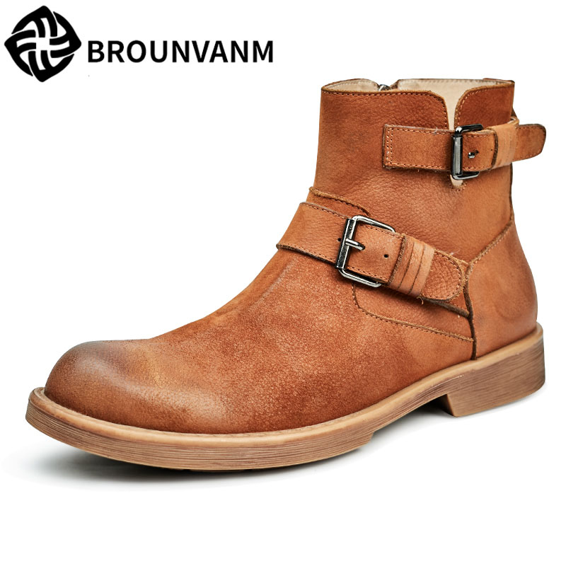 Martin male high leather shoes men's boots new autumn winter British retro cowhide cashmere breathable sneaker casual boots martin boots men s high boots korean shoes autumn winter british retro men shoes front zipper leather shoes breathable