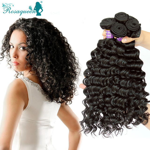 4 Bundle Deals Deep Curly Weave Eurasian Virgin Hair Natural Black Human Hair Extensions Deep Wave Rosa Queen Hair Products