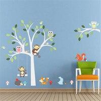 Neue 2 STÜCKE Mode-stil Kindergarten Baby Populäre stil Dschungel Eulen Affe Baum Wandaufkleber Dekor für Kinderzimmer