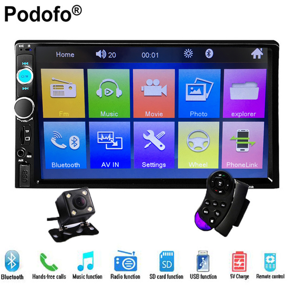 Podofo Car audio 7 2DIN autoradio Stereo Touch Screen auto Radio Video MP5 Player Support Bluetooth TF SD MMC USB FM Aux Camera black auxiliary lighting brackets fog light with turn signals for harley street glide flhx electra glide trike frame parts 06 13