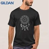 Print Op Verkoop 2017 Pure Dromenvanger Wit Inheemse Amerikaanse Geest Veren Etnische Komisch Zwart Ali Shirt Heren Tee Shirt