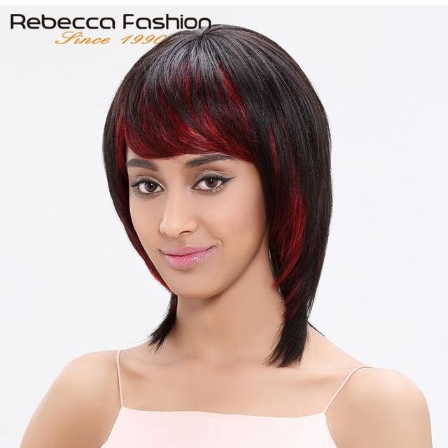 Rebecca Brazilian Straight Hair Short Straight Human Hair Red Wigs