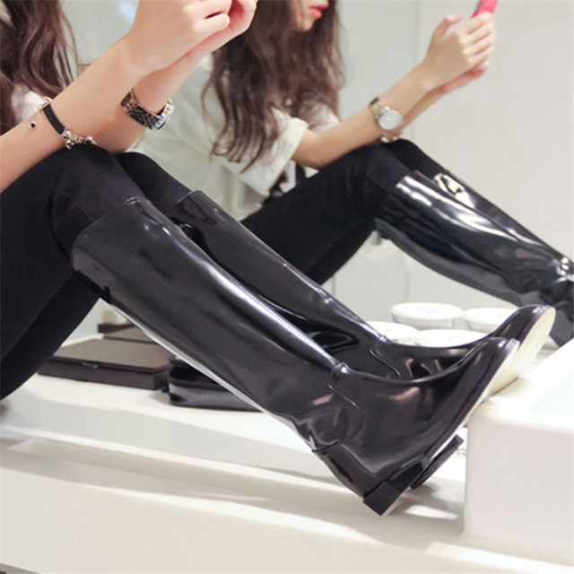 Compare Prices on Black Patent Knee High Boots- Online Shopping ...