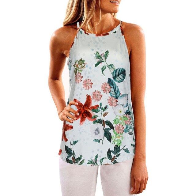c85240c18084 2017 Hot Sale Women Summer Floral Vest Sleeveless Shirt Blouse Casual Tank  Tops For women Brand