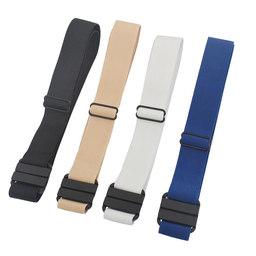 New Fashion   Belts   For Women Men Adjustable Stretch   Belt   No Show Flat Buckle Non-Slip Backing Simple Elastic   Belt   For Women Men