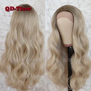 Image 3 - QD Tizer saç dantel ön peruk sarışın ombre saç kahverengi kök doğal saç çizgisi tutkalsız sentetik dantel ön peruk s kadın için