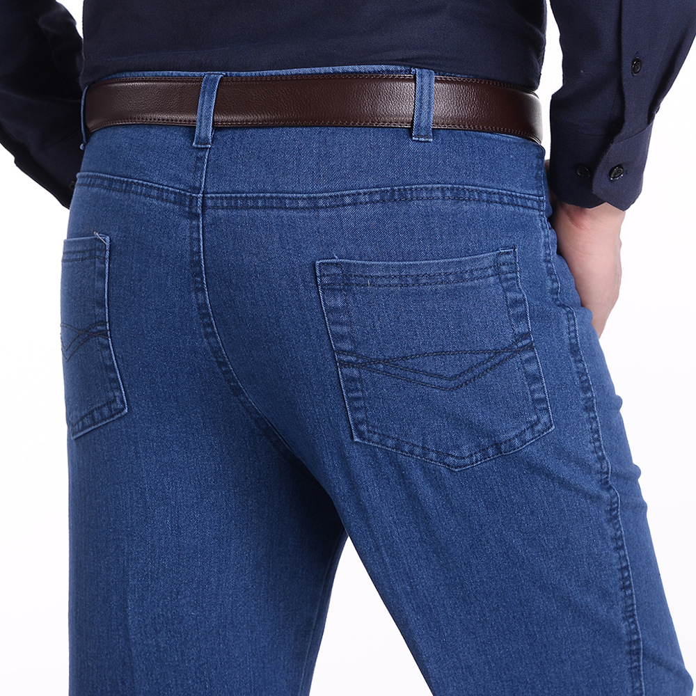 Top quality 2018 autumn Winter Casual Stretch high waist Old Men elderly Denim straight loose jeans men blue plus size 39 ...