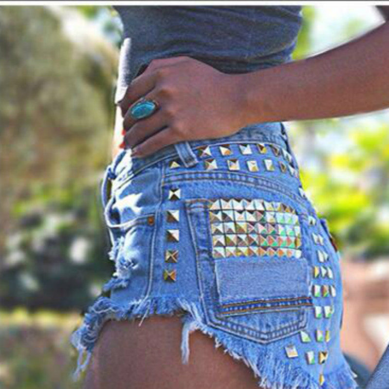 2017 Denim Shorts Women Tassel Ripped Loose Short Jeans XXL Rivet Mid Waist Punk Sexy Hot Summer Fashion Short Pants