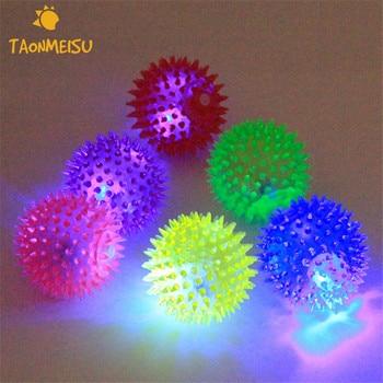 Soft Rubber Luminous Pet Dog Chewing Elastic Ball Toy Size S/L 1pcs Randomly Color
