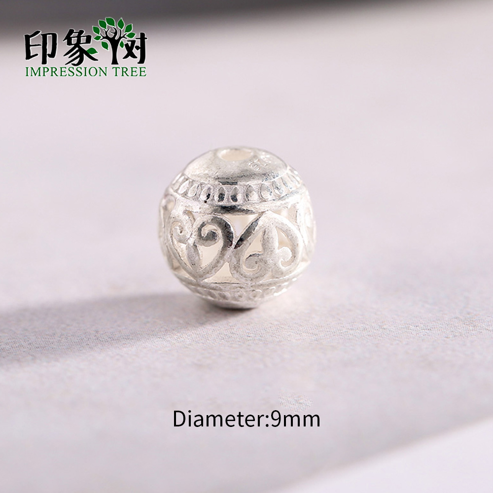 2Pc 9mm 925 Sterling Silver Spacer Ball Beads Pattern Hollow Ball For Necklace Bracelet DIY Jewelry Makings 92534