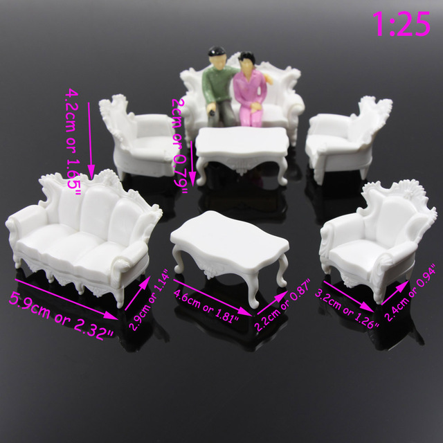 2 sets G 1:20 1:25  Antique Sofa Settee Couch Model Train Railway Set Architecture Miniature Furniture ZY05 model building kit
