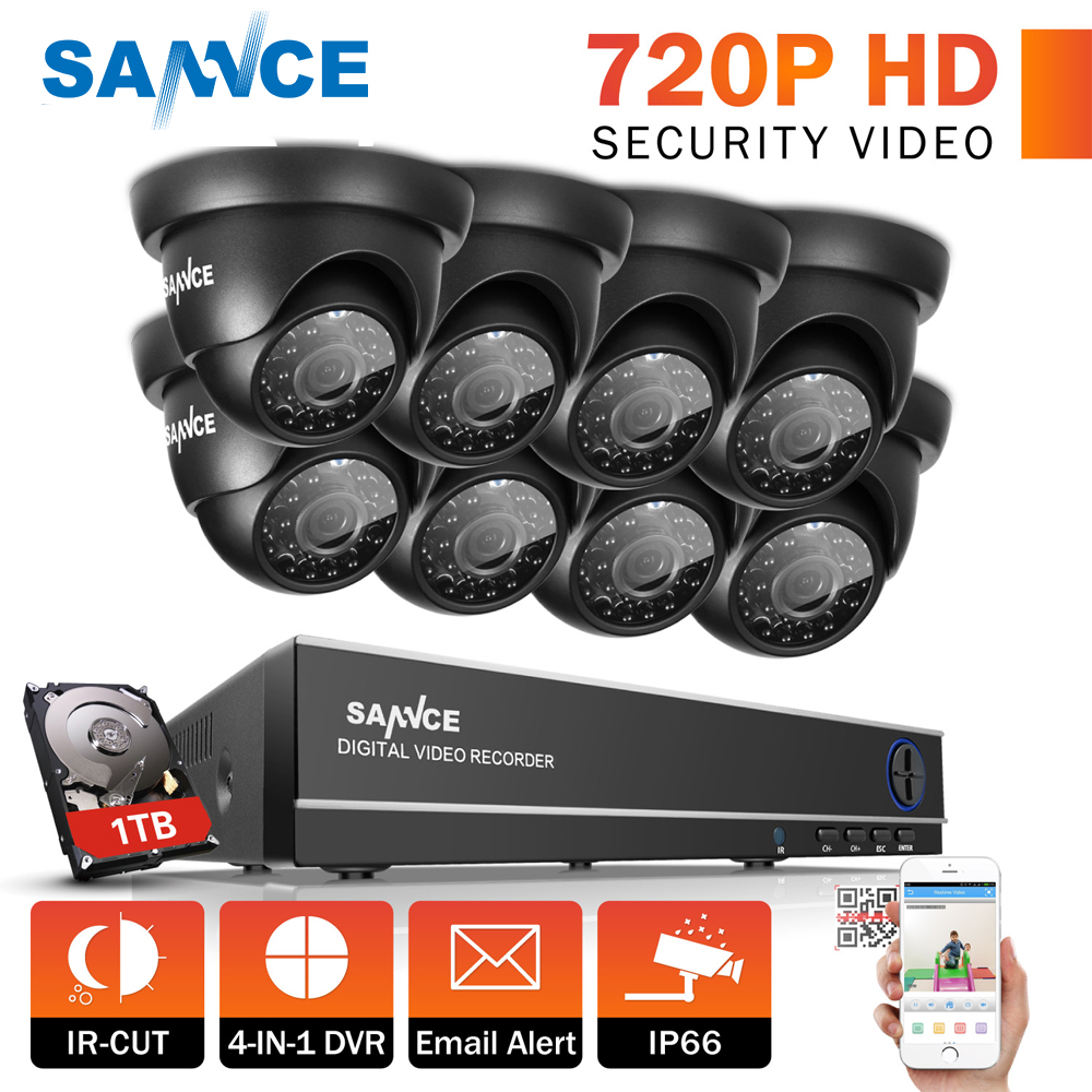 SANNCE Security Camera System DVR Kits 8CH TVL 720P AHD Outdoor CCTV Camera 8 channels Video Surveillance kits 1TB HDD IR-Cut sannce 8ch cctv camera system ahd cctv dvr 8pcs 1mp ir outdoor security camera 720p 1200 tvl camera bullet dome surveillance kit