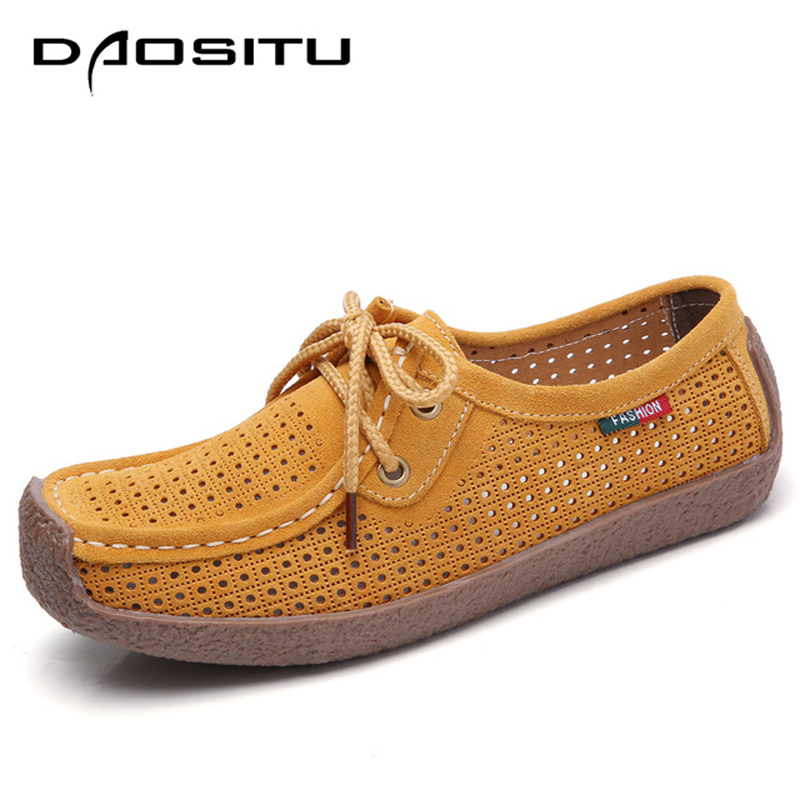 DAOSITU Summer Shoes Women Cow Suede Leather Shoes Summer Cut Out Lady Causal Shoes, Female Single Flats Gig Size 35-41