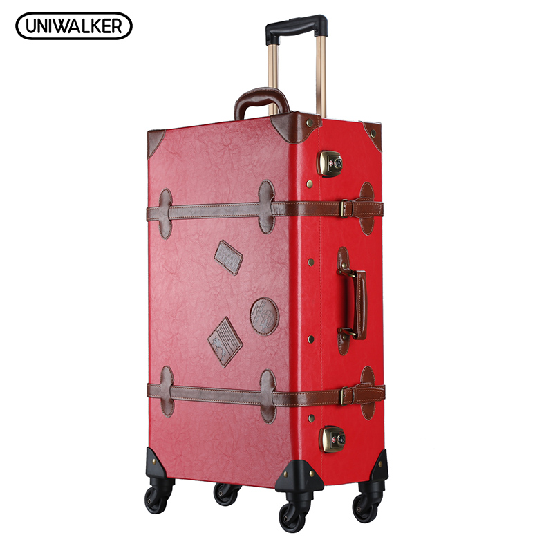 UNIWALKER 20-26Red Vintage Suitcase PU Leather Travel Suitcase , Scratch Resistant Rolling Luggage Bags Suitcase With TSA Lock 12 20 24 26 inch 2pcs set oxford travel trolley luggage scratch resistant rolling luggage bags suitcase with tsa lock