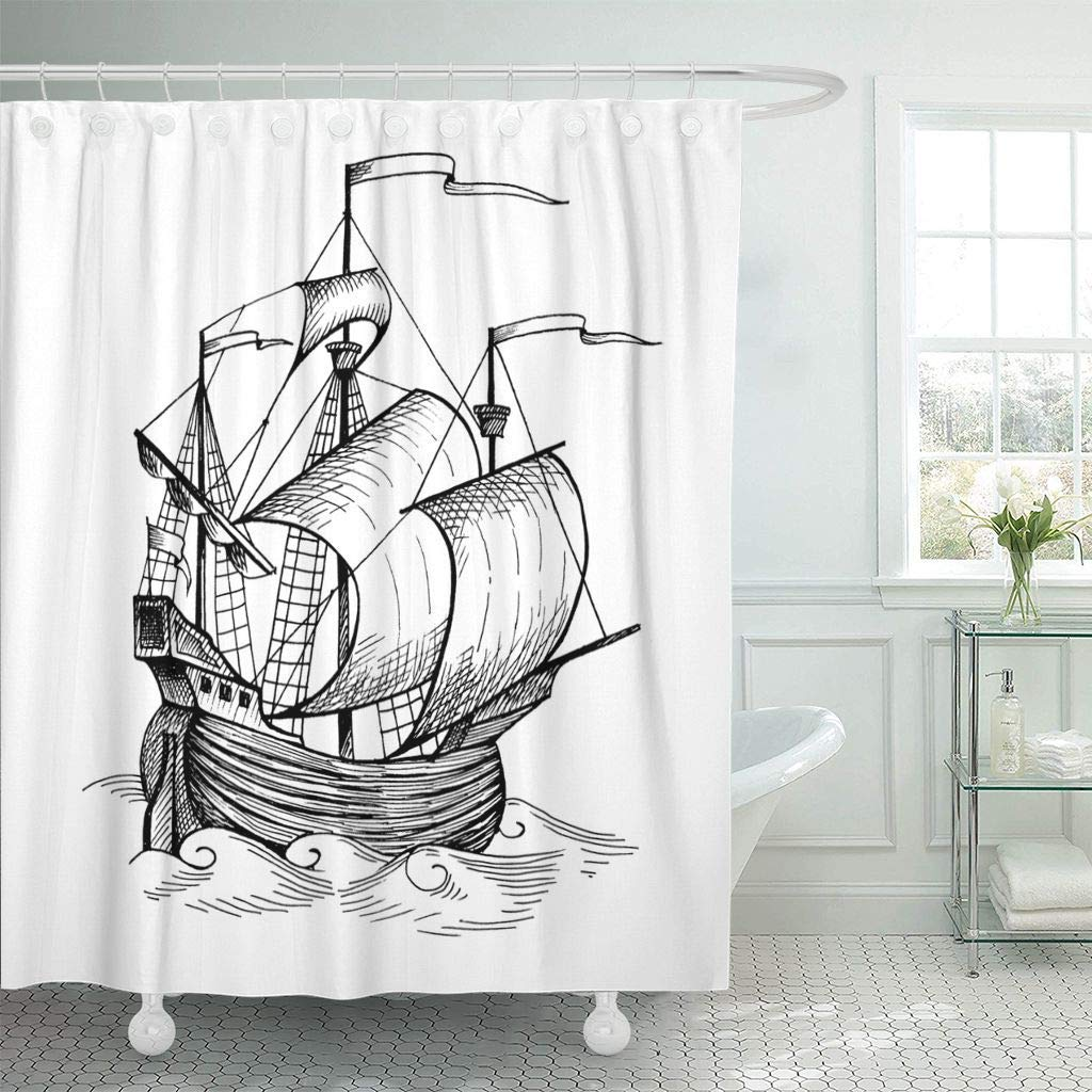 Shower Curtains Bathroom Curtain Drawing Old Caravel Vintage Sailboat Sketch Detail Of The Geographical Maps Sea Ship Bath