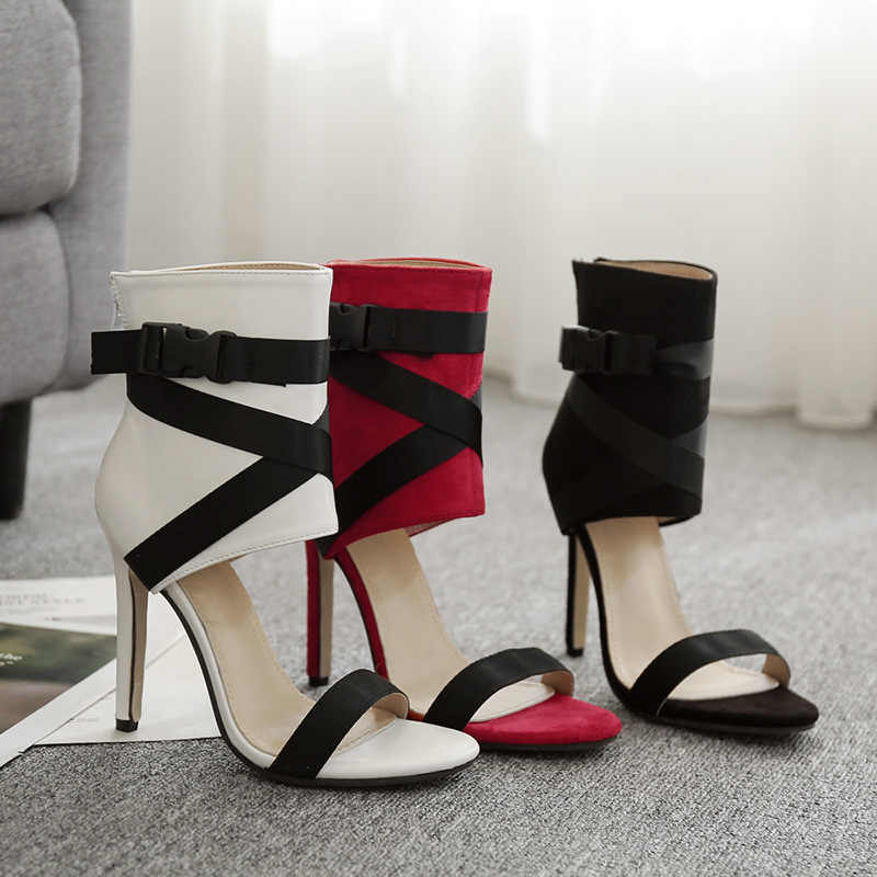 Şık avrupa T sahne ince yüksek topuklu sandalet kadın çapraz kayış Lace Up Stiletto topuk sandalet botlar seksi burnu açık ayakkabı