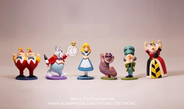 디즈니 앨리스 원더 랜드 6 개/대 5 cm 액션 피겨 모델 애니메이션 미니 장식 pvc 컬렉션 입상 장난감 모델 어린이위한