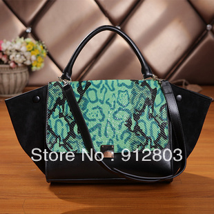 [ANYTIME] 2014 Women's GENUINE LEATHER Crocodile Smiley Serpentine Handbags, Lady Brand Big Ear Swing Cowhide European Totes Bag