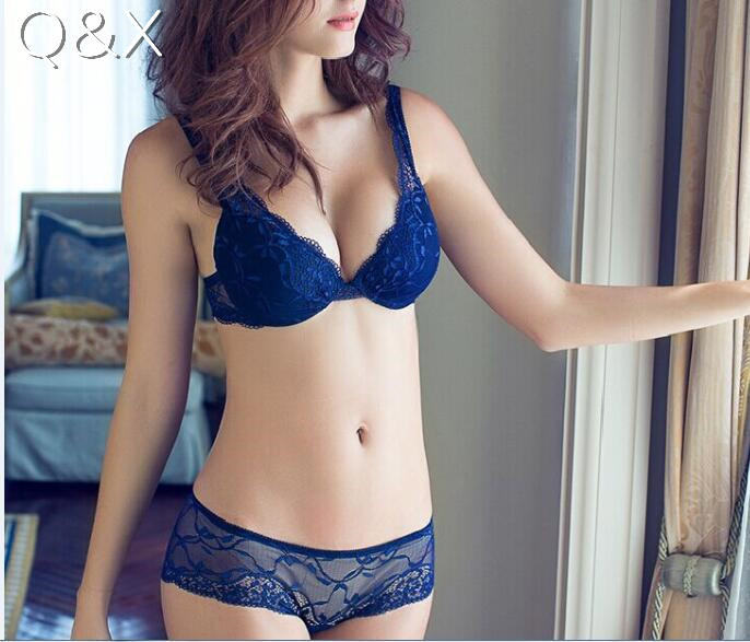 BS16 New 2017 Lace Embroidery Bra Set Women Plus Size Push Up Underwear Set Bra and Panty Set 32 34 36 38 ABC Cup For Female