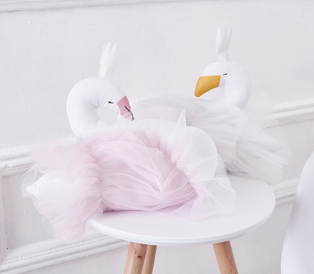 B Baby Pillow Swan Crown Gauze Pillow Cushion Baby Accompany Sleeping Doll Photography Props Children's Bed Room Decoration Toys
